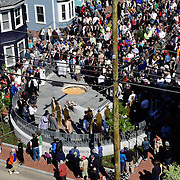 Overview of African Burying Ground Reburial Ceremony from nearby roof.