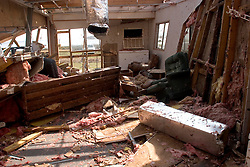 25 Sept, 2005.  Lake Calcasieu, Louisiana. Hurricane Rita aftermath. <br />  What remains of the interior of an oil company office and living quarters after the tidal surge washed through the building.<br /> Photo; &copy;Charlie Varley/varleypix.com