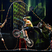 "LONDON, ENGLAND - SEPTEMBER 19: ""iD"" performed by Trial biker PhilippeThibaut Cirque Eloize at The Peacock Theatre on September 19, 2016 in London, England. (Photo by Leo Mason - Split Second/Corbis via Getty Images)"