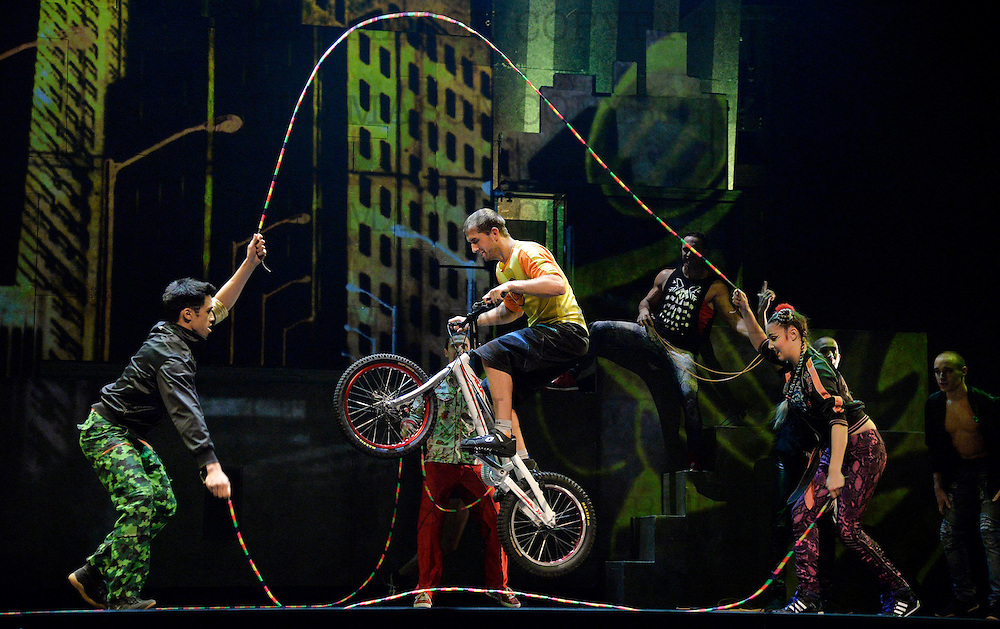 """LONDON, ENGLAND - SEPTEMBER 19: """"iD"""" performed by Trial biker PhilippeThibaut Cirque Eloize at The Peacock Theatre on September 19, 2016 in London, England. (Photo by Leo Mason - Split Second/Corbis via Getty Images)"""