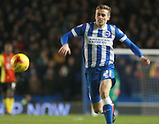Brighton striker James Wilson races for the ball during the Sky Bet Championship match between Brighton and Hove Albion and Birmingham City at the American Express Community Stadium, Brighton and Hove, England on 28 November 2015. Photo by Bennett Dean.