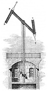 Sectional view of a telegraph tower using Chappe's (1763-1805) semaphore system, showing the method of moving the signalling arms. From Louis Figuier 'Les Merveilles de la Science', Paris, c1870. Engraving