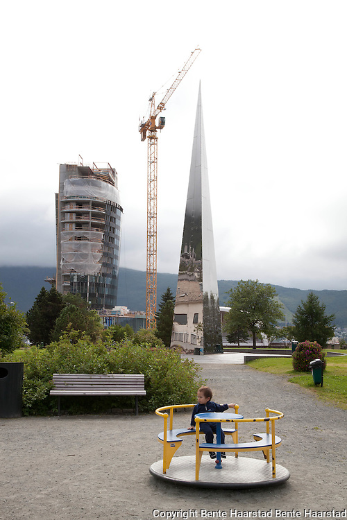 """National Monument for Peace, Narvik. Also known as """"Trinigon."""" Erected by the Norwegian government on the 50th anniversary of the liberation of Norway. By the artist Espen Gangvik."""