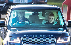 © Licensed to London News Pictures. 08/02/2020. Windsor, UK. Prince Andrew is seen driving Sarah, Duchess of York from his house in Windsor Great Park. It has emerged that he has turned down promotion to admiral to mark his 60th birthday. Photo credit: Peter Macdiarmid/LNP