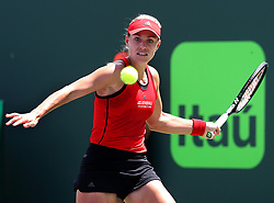 March 27, 2018 - Key Biscayne, FL, USA - Angelique Kerber of Germany returns against Sloane Stephens of the USA during the women's singles fourth round on Tuesday, March 27, 2018 at the Miami Open tennis tournament at Crandon Park Tennis Center in Key Biscayne, Fla. (Credit Image: © Pedro Portal/TNS via ZUMA Wire)