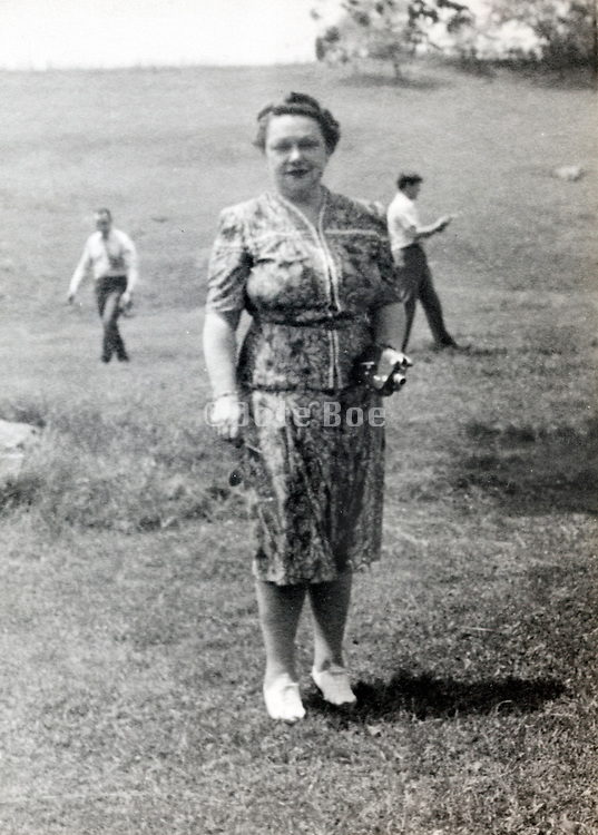 female employee at a company sports and recreational day USA 1940s