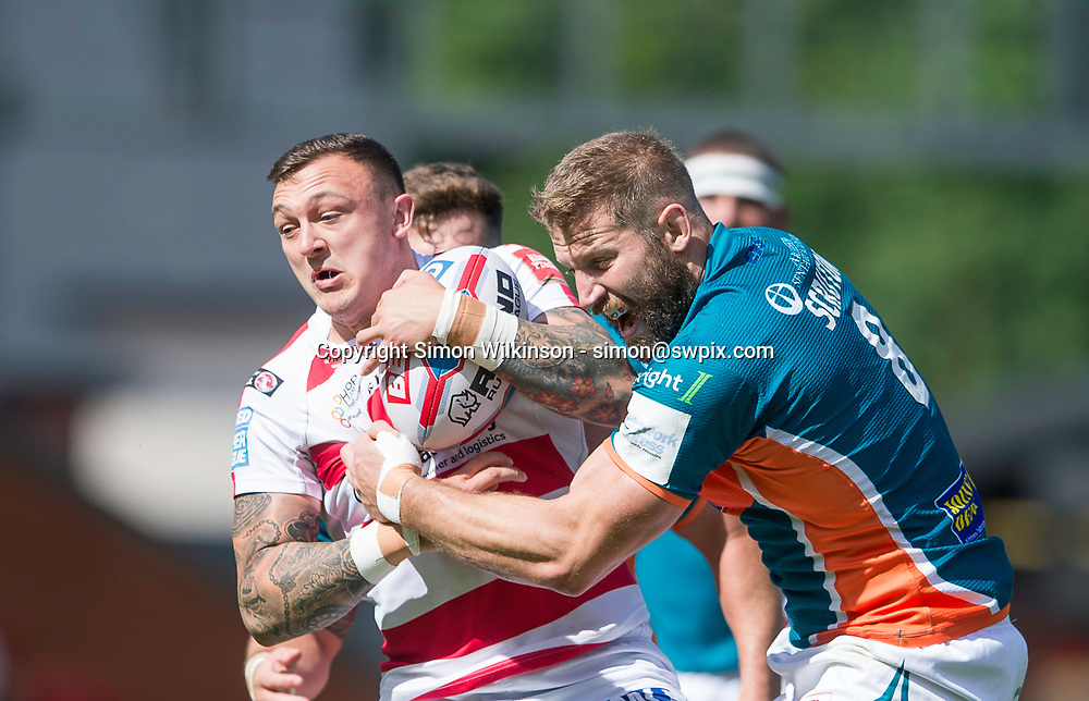 Picture by Allan McKenzie/SWpix.com - 12/08/2017 - Rugby League - Betfred Super League - The Qualifiers - Leigh Centurions v Hull KR - Leigh Sports Village, Leigh , England - Leigh's Matty Dawson is tackled by Hull KR's Nick Scruton.