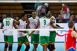 07.09.2014, Centennial Hall, Breslau, POL, FIVB WM, Serbien vs Kamerun, Gruppe A, im Bild Kamerun radosc // Cameroon gladness // during the FIVB Volleyball Men's World Championships Pool A Match beween Serbia and Cameroon at the Centennial Hall in Breslau, Poland on 2014/09/07. EXPA Pictures © 2014, PhotoCredit: EXPA/ Newspix/ Sebastian Borowski<br /> <br /> *****ATTENTION - for AUT, SLO, CRO, SRB, BIH, MAZ, TUR, SUI, SWE only*****