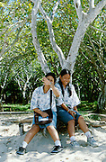Nusa Dua. School Girls on the beach.