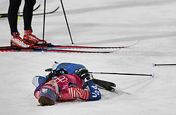 February 17, 2018 - Pyeongchang, KOR - Team USA's Sophie Caldwell catches her breath after her leg in the Women's 4x5km Relay at Alpensia Cross-Country Centre during the Pyeongchang Winter Olympics on Saturday, Feb. 17, 2018. The USA finished in fifth place. (Credit Image: © Carlos Gonzalez/TNS via ZUMA Wire)