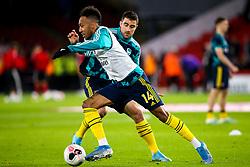 Pierre-Emerick Aubameyang of Arsenal and Sokratis Papastathopoulos of Arsenal - Mandatory by-line: Robbie Stephenson/JMP - 21/10/2019 - FOOTBALL - Bramall Lane - Sheffield, England - Sheffield United v Arsenal - Premier League