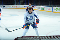 PENTICTON, CANADA - SEPTEMBER 9: Austin Glover #67 of Edmonton Oilers stands on the ice during morning skate on September 9, 2017 at the South Okanagan Event Centre in Penticton, British Columbia, Canada.  (Photo by Marissa Baecker/Shoot the Breeze)  *** Local Caption ***