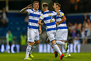 GOAL 1-1 Queens Park Rangers forward Jordan Hugill (9) scores a header and celebrates during the EFL Sky Bet Championship match between Queens Park Rangers and Swansea City at the Kiyan Prince Foundation Stadium, London, England on 21 August 2019.