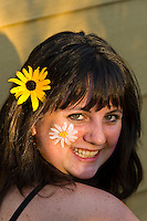 "14 year old teenaged girl dressed as a ""flower child"", Littleton, Colorado USA"