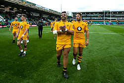 Zurabi Zhvania and Rob Miller of Wasps celebrate victory over Northampton Saints - Mandatory by-line: Robbie Stephenson/JMP - 28/09/2019 - RUGBY - Franklin's Gardens - Northampton, England - Northampton Saints v Wasps - Premiership Rugby Cup