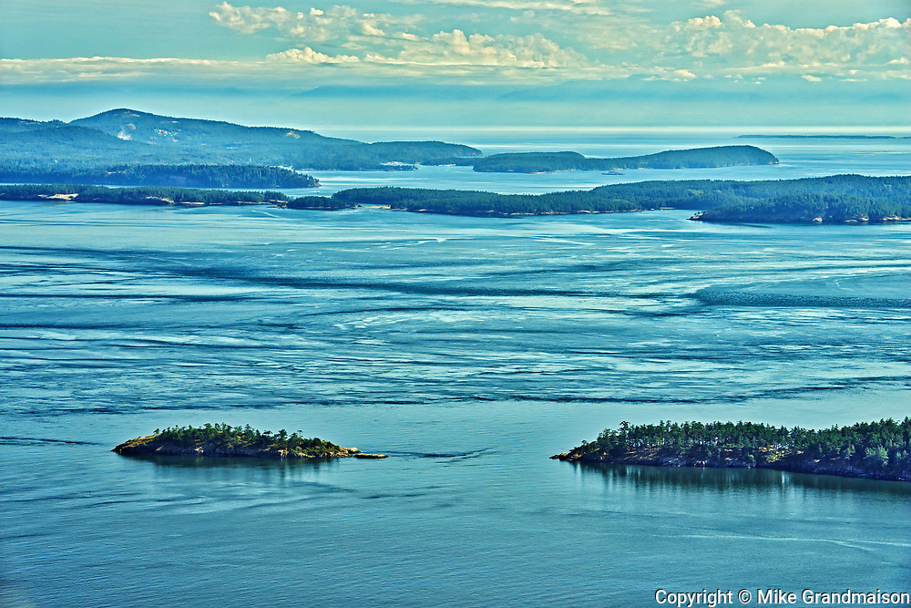 View of the Gulf and San Juan Islands from the 497-metre summit of Mt. Warburton Pike , Saturna Island, British Columbia, Canada