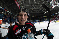 KELOWNA, CANADA - NOVEMBER 28: Lane Zablocki #27 of the Kelowna Rockets stands at the bench during warm up against the Kelowna Rockets  on November 28, 2018 at Prospera Place in Kelowna, British Columbia, Canada.  (Photo by Marissa Baecker/Shoot the Breeze)