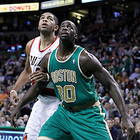 09 March 2012: Portland Trail Blazers small forward Nicolas Batum (88) vies for the rebound with Boston Celtics power forward Brandon Bass (30) during the Boston Celtics 104-86 victory over the Portland Trail Blazers at the TD Banknorth Garden, Boston, Massachusetts, USA.