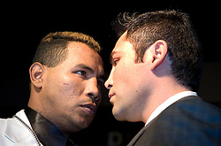 "March 2, 2006 - New York, NY - WBC Junior Middleweight Champion Ricardo ""El Matador"" Mayorga (l) faces off with challenger ""The Golden Boy"" Oscar DeLaHoya (r) at the NY press conference announcing their May 6th title fight.  The fight will take place in Las Vegas."