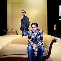 Nederland, Amsterdam , 21 december 2012..De twee oprichters van Boom Chicago, Andrew Moskos (r) en Jon Rosenfeld op het podium van hun nieuwe locatie aan de Rozengracht het Rozentheater..Foto:Jean-Pierre Jans