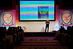 NEWPORT, WALES - Sunday, May 28, 2017: Sky Sports reporter Bryn Law gives a presentation during day three of the Football Association of Wales' National Coaches Conference 2017 at the Celtic Manor Resort. (Pic by David Rawcliffe/Propaganda)