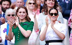 Kate Middleton, the Duchess of Cambridge, Meghan Markle, the Duchess of Sussex and Pippa MIddleton watch the Ladies Singles Final between Serena Williams and Simona Halep at The Wimbledon Championships tennis, Wimbledon, London on July 13, 2019<br />
