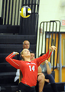 Lenape's #14 Sara Blackburn serves during a volleyball match against Rancocas Valley Saturday October 10, 2015 at Moorestown High School in Moorestown, New Jersey. (Photo by William Thomas Cain)