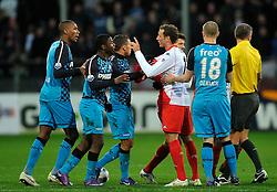 22-01-2012 VOETBAL: FC UTRECHT - PSV: UTRECHT<br /> Utrecht speelt gelijk tegen PSV 1-1 / Opstootje met (L-R) Marcelo, Jetro Willems, Zakaria Labyad, Alexander Gerndt<br /> ©2012-FotoHoogendoorn.nl