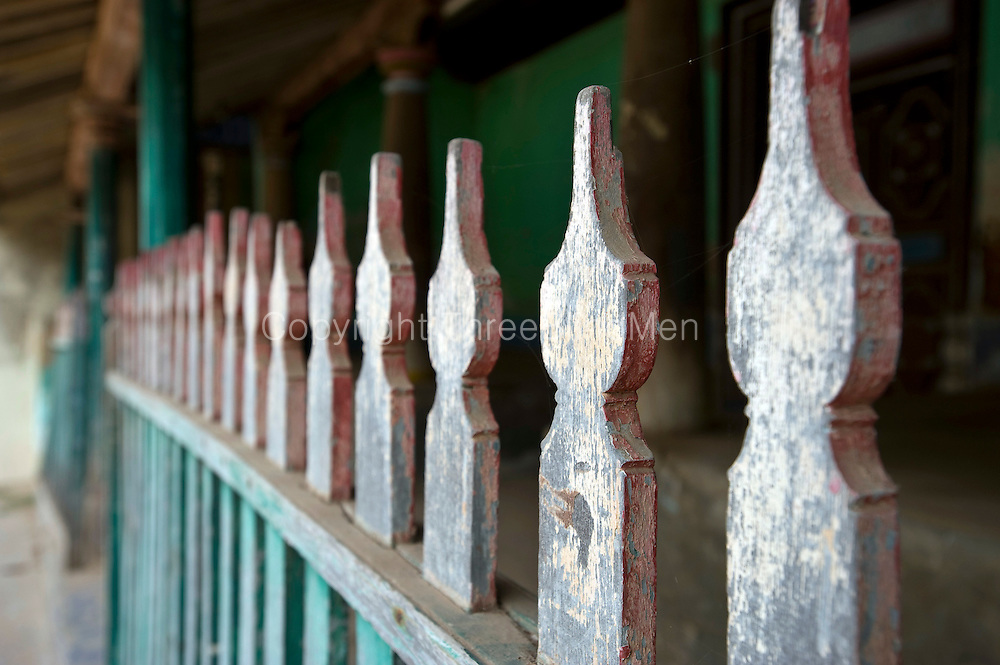 Balustrade of a home in Thittacheri. <br /> Tamil Nadu. South India.