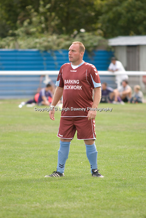TKO gym's Del Grainger at The Indee Rose Trust, Charity football tournament featuring boxing and tv personalities. The Concord Rangers FC, Canvey Island, Essex, 14th August 2011. Photo credit: Leigh Dawney 2011