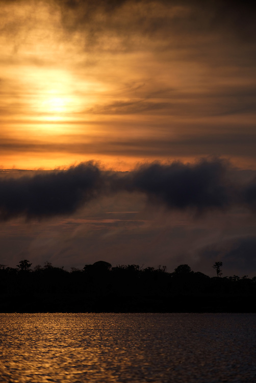 LORETO, PERU - CIRCA OCTOBER 2015:  Sunset in the Peruvian Amazon.
