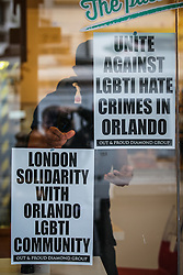 © Licensed to London News Pictures. 13/06/2016. London, UK. Posters on Old Compton Street in Soho for a vigil to pay tribute to the victims of the Pulse nightclub massacre in Orlando, Florida. In the early hours of 12 June 2016, 29-year-old Omar Mateen entered Pulse, a gay nightclub, and killed more than 50 people with an assault rifle, making it the deadliest mass shooting in US history. Photo credit: Rob Pinney/LNP