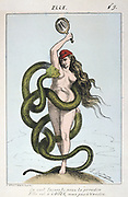 Paris Commune 26 March-28 May 1871. Louis Adolphe Thiers as the serpent tempting Liberty and the Commune (Eve) to surrender.  Thiers finally suppressed the revolutionary commune at the end of May 1871. French  France Politician