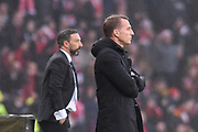 Derek McInnes and Brendan Rodgers during the Betfred Cup Final between Celtic and Aberdeen at Hampden Park, Glasgow, United Kingdom on 2 December 2018.