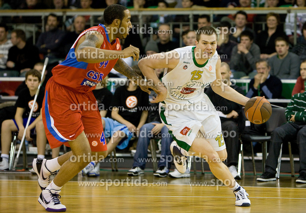 Courtney Sims  of CSKA vs Uros Slokar (15) of Olimpija at Euroleague basketball match between KK Union Olimpija, Ljubljana and CSKA Moscow, on January 7, 2010 in Arena Tivoli, Ljubljana, Slovenia. CSKA defeated Olimpija 80:77 after overtime. (Photo by Vid Ponikvar / Sportida)