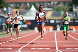 GOUWS Liezel, SAPOZHNIKOVA Anna, FRANCOIS-ELIE Mandy, JAMESON Heather, RSA, RUS, FRA, IRL, 100m, T37, 2013 IPC Athletics World Championships, Lyon, France