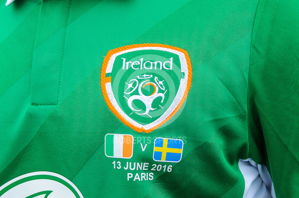 The badge on an Ireland fan's shirt. Action from the IRELAND v SWEDEN UEFA EURO 2016 game at Stade de France in St Denis, 13 June 2016. (c) Paul J Roberts / Sportpix.org.uk