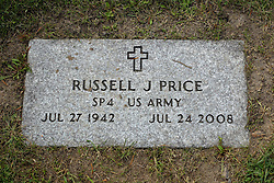 31 August 2017:   Veterans graves in Park Hill Cemetery in eastern McLean County.<br /> <br /> Russell J Price  SP4 US Army  Jul 27 1942  Jul 24 2008