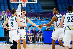Goran Dragic of Slovenia, Vlatko Cancar of Slovenia and Anthony Randolph of Slovenia during basketball match between National Teams of Slovenia and Poland at Day 1 of the FIBA EuroBasket 2017 at Hartwall Arena in Helsinki, Finland on August 31, 2017. Photo by Vid Ponikvar / Sportida