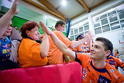 Andrej Flajs of ACH with fans at last final volleyball match of 1.DOL Radenska Classic between OK ACH Volley and Salonit Anhovo, on April 21, 2009, in Arena SGS Radovljica, Slovenia. ACH Volley won the match 3:0 and became Slovenian Champion. (Photo by Vid Ponikvar / Sportida)