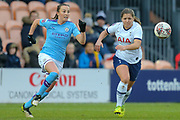 Manchester City Women midfielder Caroline Weir (19) battles for possession with Tottenham Hotspur Women striker Kit Graham (16) during the FA Women's Super League match between Tottenham Hotspur Women and Manchester City Women at the Hive, Barnet, United Kingdom on 5 January 2020.
