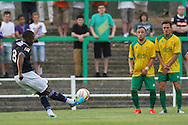 Picture by David Horn/Focus Images Ltd +44 7545 970036<br /> 16/07/2013<br /> Solomon Whalley of Luton Town takes a free kick during the Pre Season Friendly match at Top Field, Hitchin.