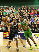 Giants Erron Maxey and Jets Marcel Jones compete for the ball during the 2013 NBL season - Telecom Business Hub Jets v Fico Finance Nelson Giants, Arena Manawatu, Palmerston North, New Zealand, Friday 31 May 2013. Photo: Justin Arthur / photosport.co.nz