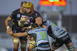December 8, 2018 - Galway, Ireland - Berend Botha of Perpignan tackled by James Mitchell and James Connolly of Connacht during the European Rugby Challenge Cup between Connacht Rugby and Parpignan at the Sportsground in Galway, Ireland on December 8, 2018  (Credit Image: © Andrew Surma/NurPhoto via ZUMA Press)
