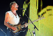 "(072807 Boston, MA)  Gordon Sumner, aka ""Sting,"" of the Police performs at Fenway Park."
