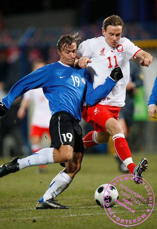 27/02/2008 WRONKI.POLAND v ESTONIA.INTERNATIONAL FRIENDLY.TOMASZ ZAHORSKI /POL/ AND ALO BARENGRUB /EST/.FOT. PIOTR HAWALEJ / WROFOTO