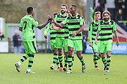 Forest Green Rovers Keanu Marsh-Brown(7) and celebrates scores a goal 2-0 during the Vanarama National League match between Forest Green Rovers and Lincoln City at the New Lawn, Forest Green, United Kingdom on 19 November 2016. Photo by Shane Healey.