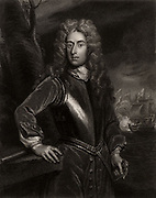 George Byng, lst Viscount Torrington (1663-1733) English naval commander: Admiral of the Fleet 1718.  First Lord of the Admiralty from 1727. Engraving after portrait by Godfrey Kneller.