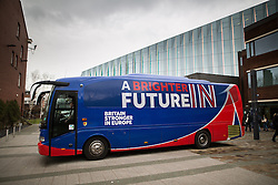 "© Licensed to London News Pictures . 15/04/2016 . Manchester , UK . The "" Britain Stronger in Europe "" campaign coach outside Manchester Metropolitan University's Business School . Photo credit: Joel Goodman/LNP"