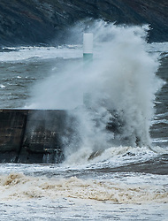 © Licensed to London News Pictures. 1/09/2017. Aberystwyth, UK. Strong gale force winds and stormy seas batter the harbour lighthouse and seaside in Aberystwyth on the coast of Cardigan Bay in west Wales. A Met Office 'yellow' warning has been issued for south western regions of the UK, with gusts of up to 60mph expected during the  morning.  .Photo credit: Keith Morris/LNP